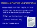 resource planning characteristics