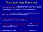 trans boundary personnel
