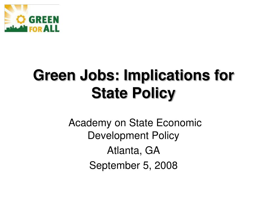 green jobs implications for state policy l.