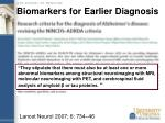 biomarkers for earlier diagnosis