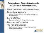 categories of ethics questions in ad and other late life dementias