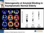 heterogeneity of amyloid binding in asymptomatic normal elderly