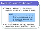 modeling learning behavior