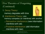 five theories of forgetting continued