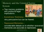 memory and the criminal justice system