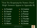now try recognizing the names need help answers appear in appendix b