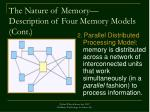 the nature of memory description of four memory models cont
