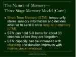 the nature of memory three stage memory model cont