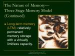 the nature of memory three stage memory model continued