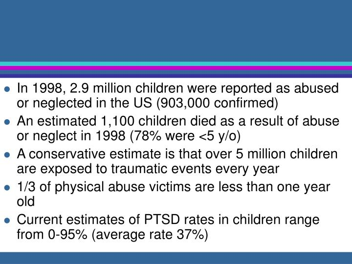In 1998, 2.9 million children were reported as abused or neglected in the US (903,000 confirmed)