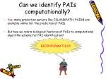 can we identify pais computationally