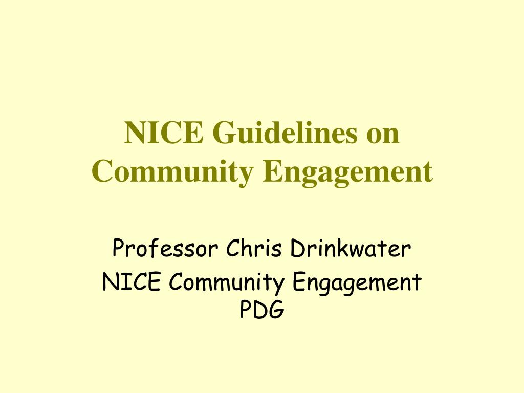 nice guidelines on community engagement l.