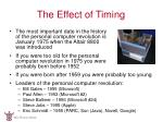 the effect of timing