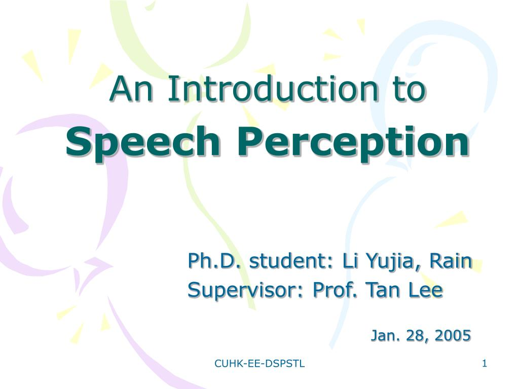 an introduction to speech perception l.
