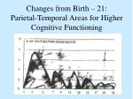 changes from birth 21 parietal temporal areas for higher cognitive functioning