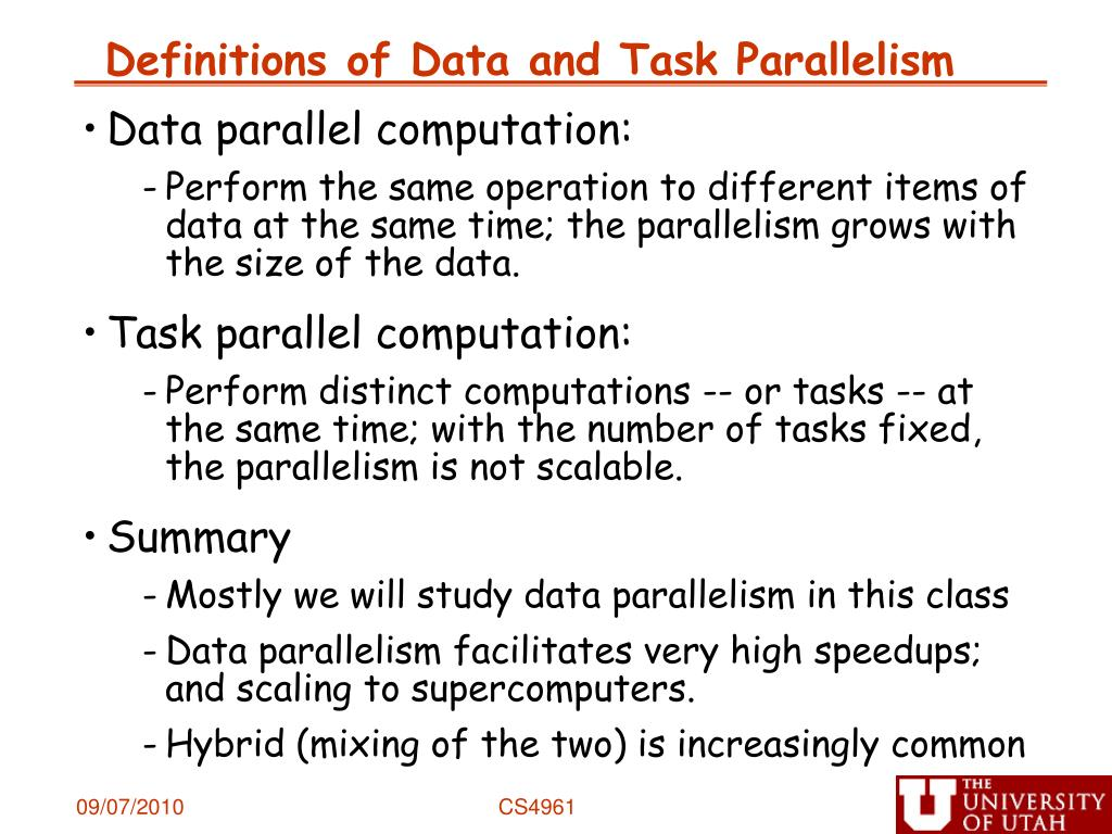 Definitions of Data and Task Parallelism