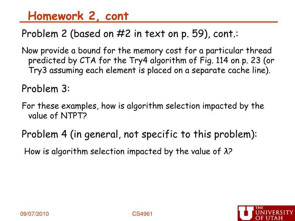 Homework 2, cont