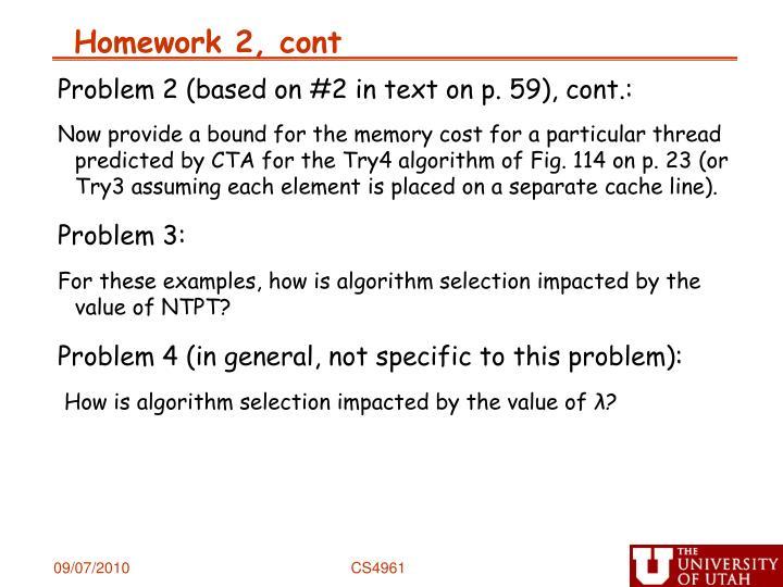 Homework 2 cont