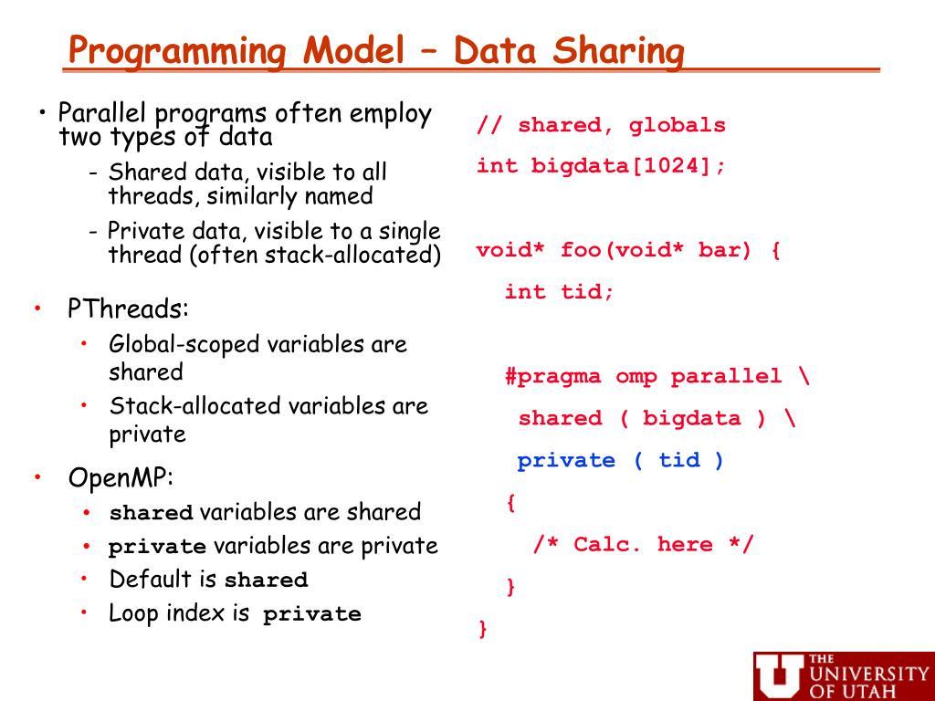 Programming Model – Data Sharing