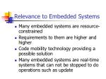 relevance to embedded systems