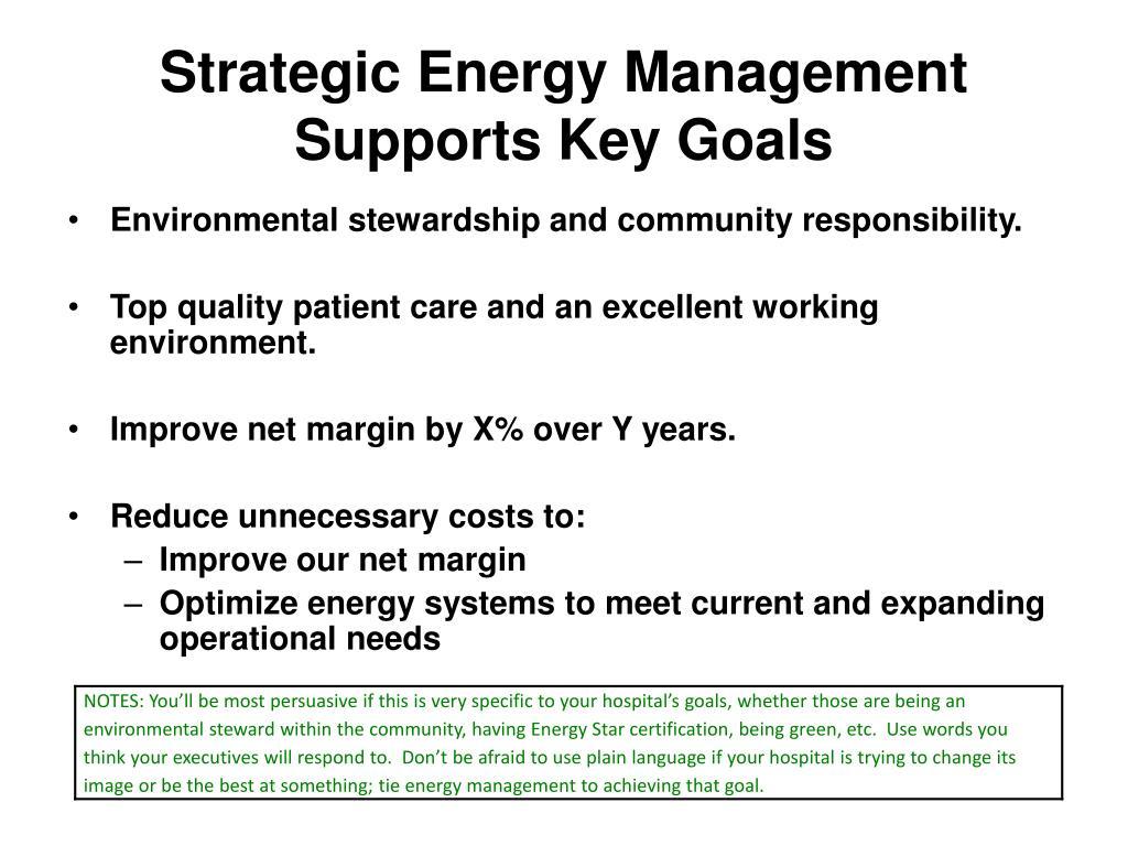Strategic Energy Management Supports Key Goals