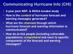 communicating hurricane info chi