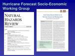 hurricane forecast socio economic working group