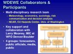 wdewe collaborators participants
