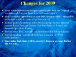changes for 2009