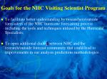 goals for the nhc visiting scientist program