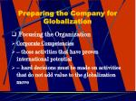 preparing the company for globalization