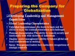 preparing the company for globalization19
