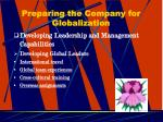 preparing the company for globalization20
