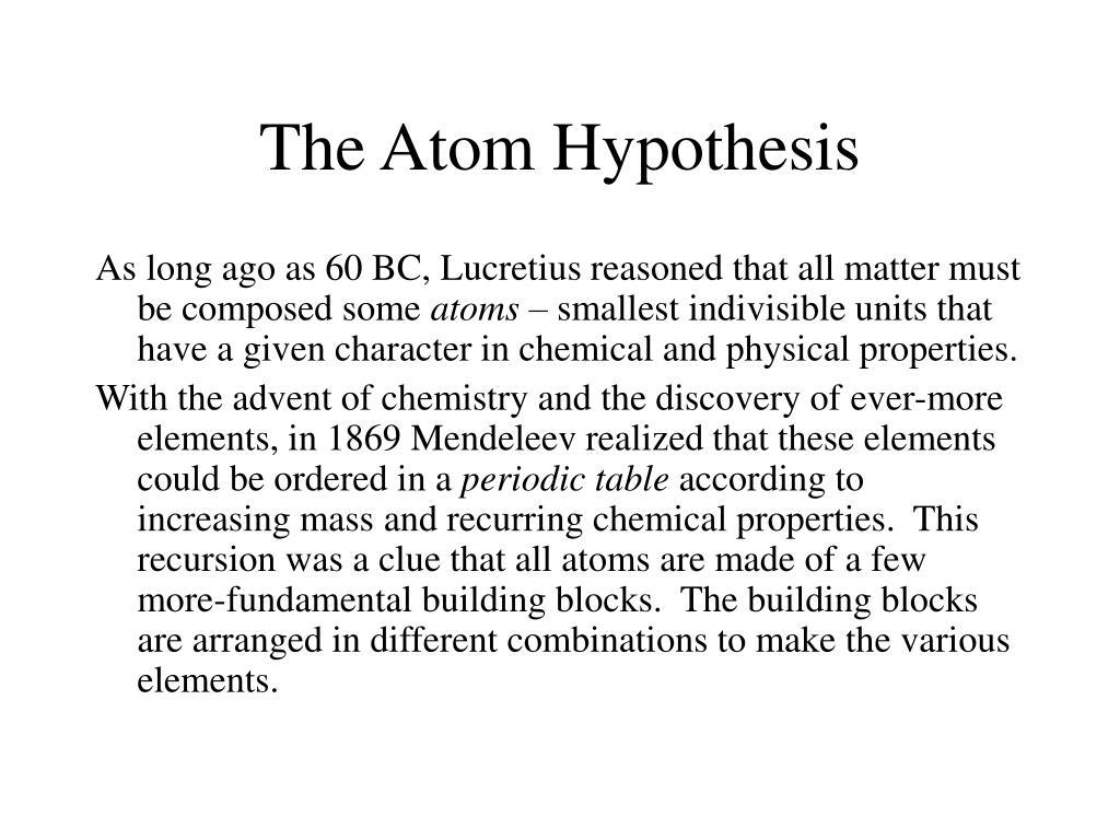 the atom hypothesis l.