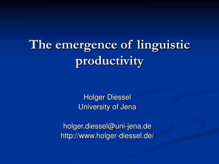 the emergence of linguistic productivity n.