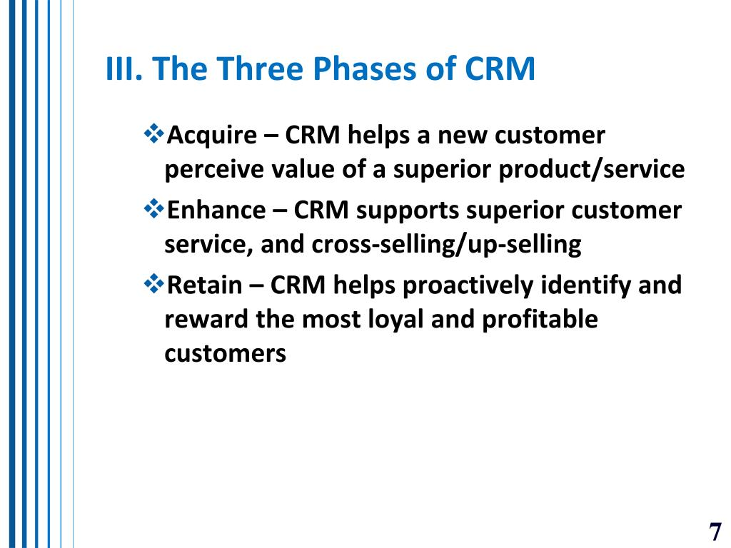 III. The Three Phases of CRM