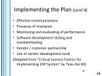implementing the plan cont d
