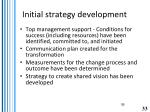 initial strategy development