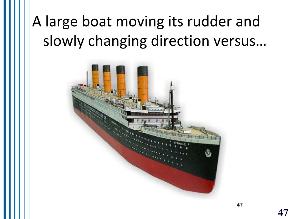 A large boat moving its rudder and slowly changing direction versus…