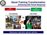 naval training transformation achieving hsi threat response