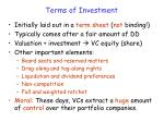 terms of investment