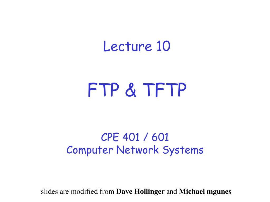 lecture 10 ftp tftp l.