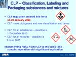 clp c lassification l abeling and p ack ag ing substances and mixtures