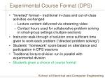 experimental course format dps