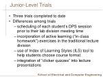 junior level trials