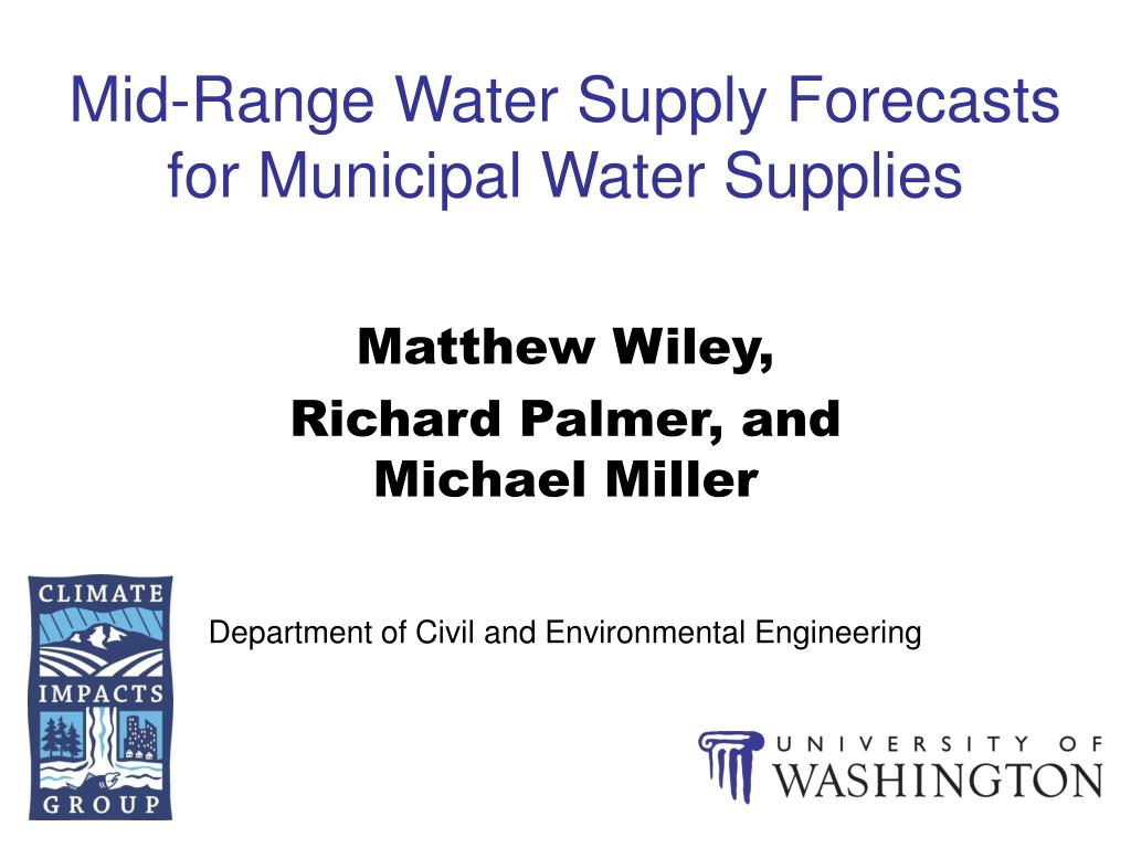 mid range water supply forecasts for municipal water supplies l.