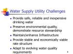water supply utility challenges