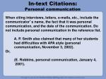 in text citations personal communication