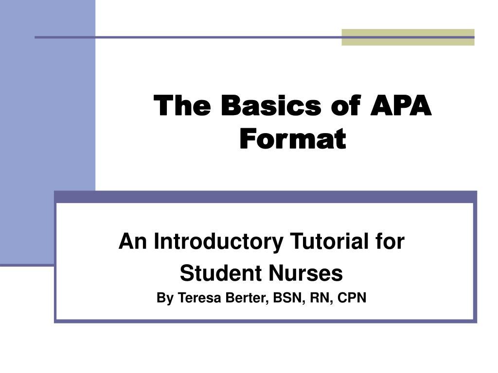 the basics of apa format l.