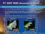 fy 2007 nws accomplishments